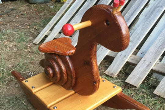 Get same day shipping for wooden rocking snails